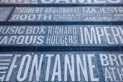 Imiona Broadway teatry na times square w Miasto Nowy Jork Zdjęcia Stock
