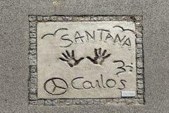 Imiona i ręka druki gwiazdy przy Monachium spacerem sława w Zdjęcie Royalty Free