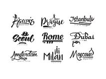 Imiona miasta, Paryż, Praga, Istanbuł, Seul, Rzym, Dubaj, Amsterdam, Mediolan, Moskwa, miasto literowanie projekta ręka rysująca Obrazy Royalty Free