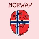 Imitação da cor da bandeira de Noruega com leão, animal nacional Imagem de Stock Royalty Free