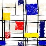 Imitación del Grunge de la pintura de Mondrian Imágenes de archivo libres de regalías
