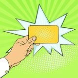 Imitacj retro ilustracje Emocje i nastrój Elektroniczna złocista zapłaty karta Biznes i Finanse ilustracji