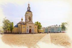 Imitacja obrazek Miasto Vyborg Wybawiciel transfiguracji katedra na Katedralnym kwadracie obraz stock