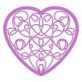 Imitatie geborduurd patroon van harten in de vorm van hart Royalty-vrije Stock Afbeelding