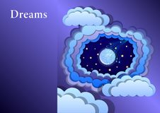 imitating paper art and craft style; starry sky appears through layers of of stylized clouds, shooting star royalty free illustration
