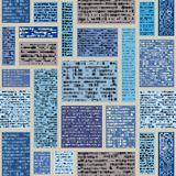 Imitation of a abstract vintage newspaper. Unreadable text. Seamless background pattern. Imitation of a abstract vintage newspaper in block design style stock illustration