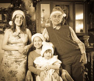 Imitation of antique photo of happy family Stock Image