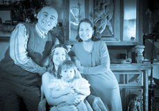 Imitation of antique portrait of happy family Stock Photos