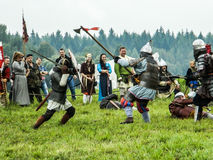 Imitation battles of the ancient Slavs during the festival of historical clubs in the Kaluga region of Russia. Royalty Free Stock Image