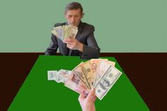 Imitation of card games, instead of cards - banknotes stock photography