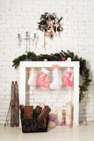 Imitation of christmas firewood with socks. Home decoration and imitation of christmas firewood with socks Stock Images