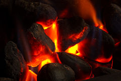 Imitation coal fire. Powered by gas supply Stock Photos