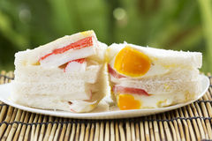 Imitation Crab and egg Ham sandwich Royalty Free Stock Photography