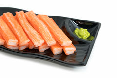 Imitation Crab Stick  in plate Royalty Free Stock Photography