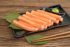 Imitation Crab Stick  in plate Royalty Free Stock Photos