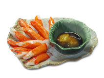 Imitation Crab Stick and wasabi in ceramic dish. Isolated Royalty Free Stock Images