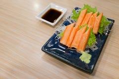 Imitation Crab Stick with wasabi and shoyu sauce Stock Images