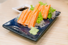 Imitation Crab Stick with wasabi and shoyu sauce Stock Images
