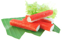 Imitation Crab Stick on white Stock Images