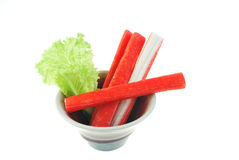 Imitation Crab Stick on white background Royalty Free Stock Image