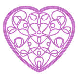 Imitation embroidered pattern of hearts in the form of heart Royalty Free Stock Image