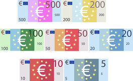 Imitation Euro Paper Bank Notes Denominations (Vector) Royalty Free Stock Images