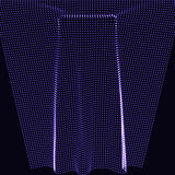 Imitation of fabric or cloth. Geometric figures from dynamically emitted particles. 3D-style. Luminous grid. Abstract background. EPS10. Imitation of fabric or Stock Images