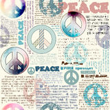 Imitation of grunge newspaper with pacific symbols Royalty Free Stock Photos