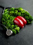 Imitation of healthy lungs and heart formed by broccoli and pepper with stethoscope