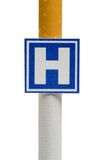Imitation hospital signboard on cigarette, isolated Stock Photography