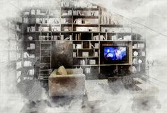 Imitation of interior sketch Royalty Free Stock Images