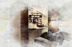 Imitation of interior sketch Royalty Free Stock Image