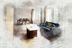 Imitation of interior sketch Stock Images