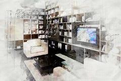 Imitation of interior sketch Royalty Free Stock Photo