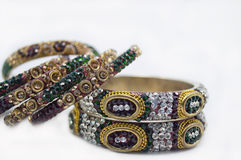 Imitation Jewelery. Closeup of bangles embedded with gems Royalty Free Stock Photography