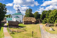 Imitation of a medieval village in the Russian city of Izborsk f Royalty Free Stock Photo