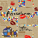 Imitation of newspaper Barcelona with mosaics. Stock Image