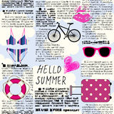 Imitation of newspaper Hello summer. Seamless background pattern. Imitation of old newspaper, text is unreadable. Hello summer Stock Photo