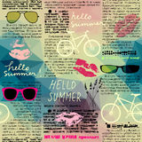 Imitation of newspaper Hello summer. Seamless background pattern. Imitation of old newspaper, text is unreadable. Hello summer Royalty Free Stock Photography