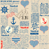 Imitation of newspaper in nautical style with royalty free illustration