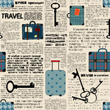 Imitation of newspaper with suitcases and word Stock Photography