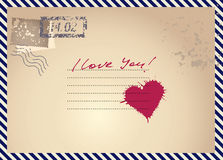 Imitation postcar with heart Royalty Free Stock Photo