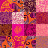 Imitation of quilting design in indian style with. Seamless background pattern. Imitation of quilting design in indian style with paisley ornament Royalty Free Stock Image