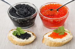 Imitation Red And Black Caviar And Spoons In Bowls, Sandwiches Royalty Free Stock Photo