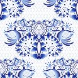 Imitation sans couture de modèle de la peinture sur la porcelaine dans le style russe Gzhel ou la peinture chinoise Fond clair av Photos stock
