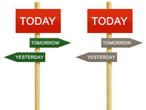 Today Tomorrow Yesterday. Imitation signboard on time management concept. Isolated version Stock Images