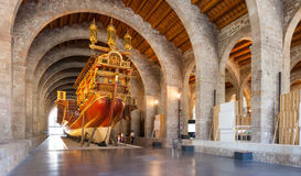 Imitation of war medieval ship in Museu Maritim de Barcelona Royalty Free Stock Image