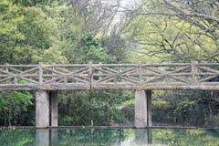 Imitation wooden bridge Stock Photo