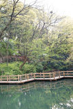 Imitation wooden bridge Stock Images