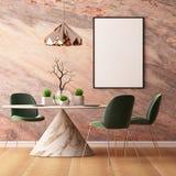 Imite encima de interior en estilo del art déco con una pared de mármol 3d que rinde el ejemplo 3d Fotos de archivo libres de regalías